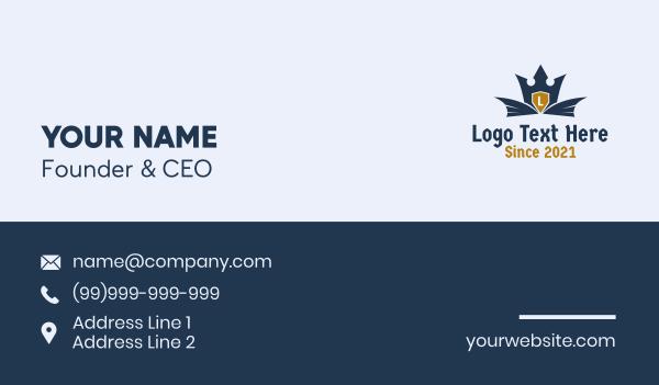 templar - Crown Wings Heraldry Letter Business card horizontal design