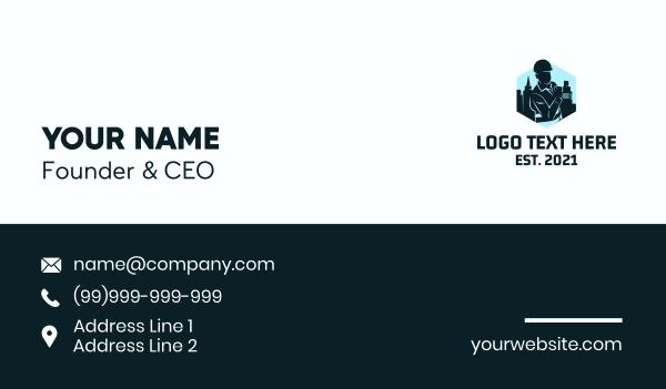 commercial building - Civil Engineer Silhouette Business card horizontal design
