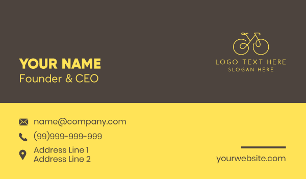 pedal - Yellow Bicycle Monoline Business card horizontal design