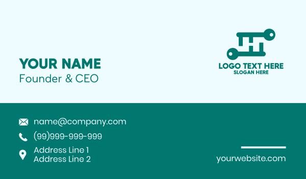 security service - Green Letter H Keys Business card horizontal design