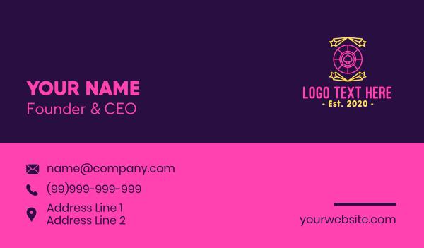 card - Neon Sparkling Casino Spade Business card horizontal design