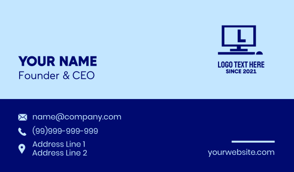 desktop - Blue Computer Lettermark Business card horizontal design