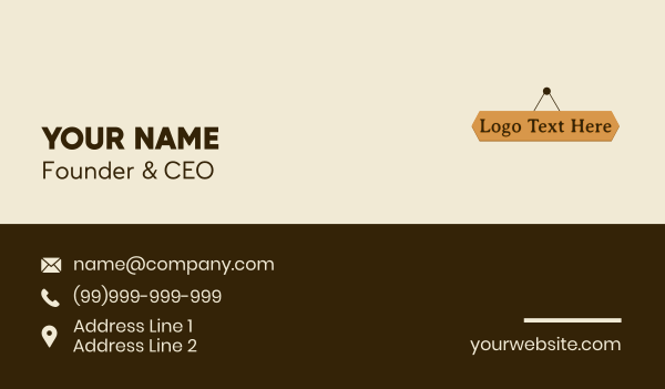 nail - Hanging Wood Wordmark Business card horizontal design