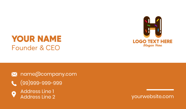 sprinkle - Donut Bakeshop Letter H Business card horizontal design