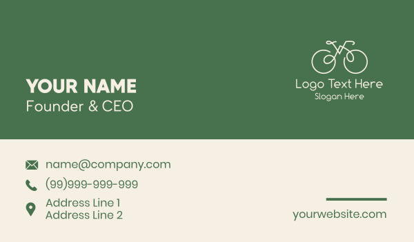 pedal - Green Bicycle Bike Business card horizontal design
