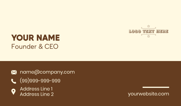sheriff - Cowboy Sheriff Wordmark Business card horizontal design