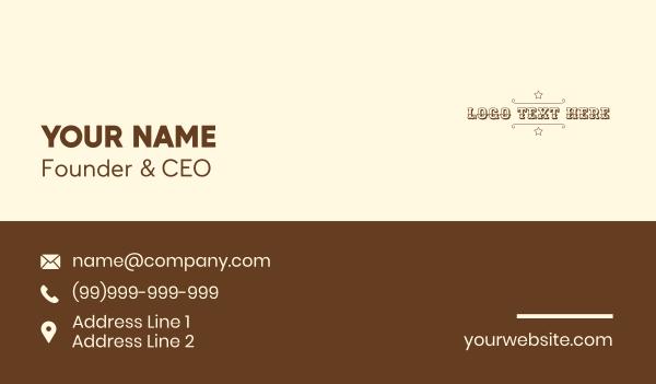 country club - Cowboy Sheriff Wordmark Business card horizontal design
