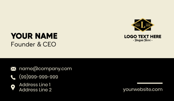 deco - Classic Geometric Lettermark  Business card horizontal design