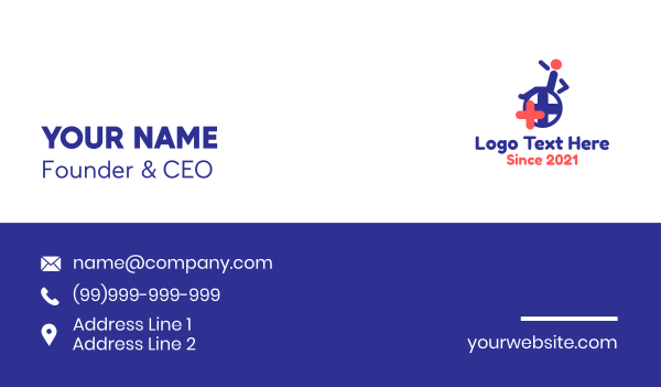 pharmacology - Wheelchair Medical Cross Business card horizontal design