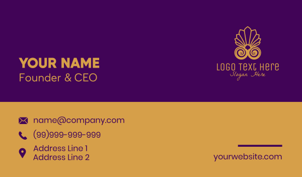 seashell - Elegant Seashell Hotel Business card horizontal design