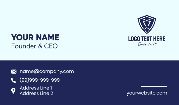 knight - Blue Insurance Shield  Business card horizontal design
