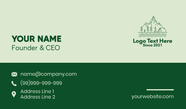 park - Green Mountain Camping  Business card horizontal design