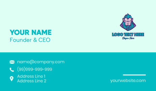 rapping - Monkey Elf Character Business card horizontal design
