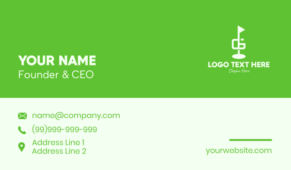 golf tournament - Golf Course Letter G Business card horizontal design