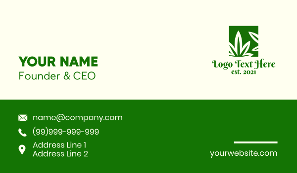 dispensary - Green Cannabis Herb Business card horizontal design