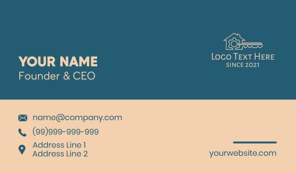 home property - Bronze House Key Gear Business card horizontal design