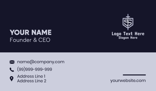 knight - Letter S Sword Shield Business card horizontal design