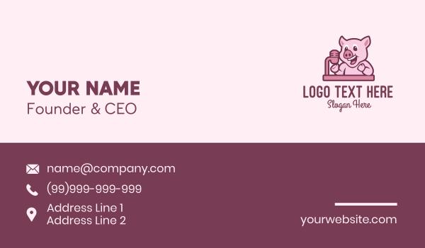 mic - Pig Podcast Host  Business card horizontal design
