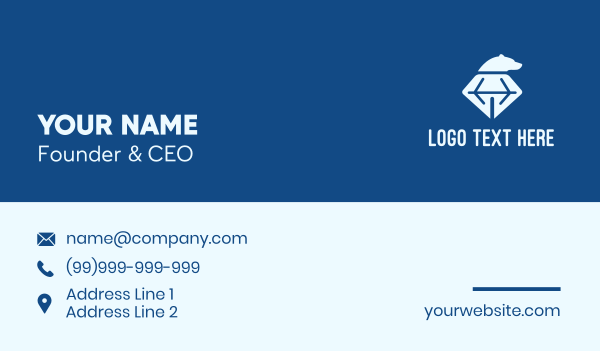 mine - Diamond Bear Head  Business card horizontal design