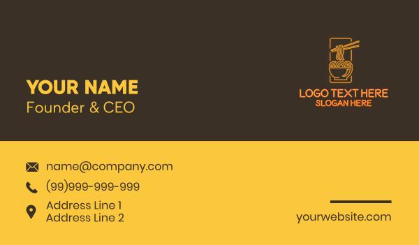 noodles - Orange Neon Noodles Bowl Business card horizontal design