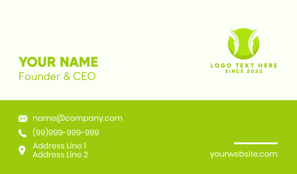 tennis coach - Electric Green Tennis Ball Business card horizontal design
