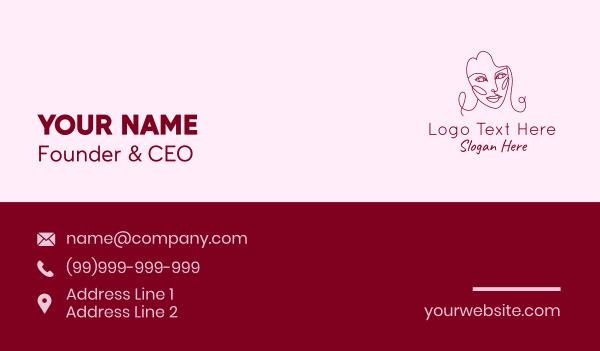 maiden - Monoline Beauty Face  Business card horizontal design