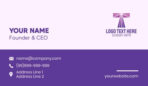 computer science - Modern Purple Letter T Business card horizontal design