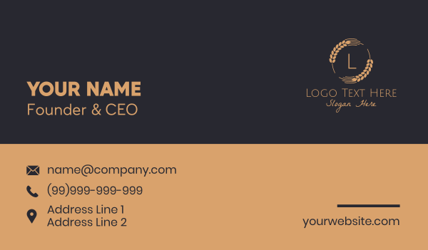 granary - Wheat Grain Letter Business card horizontal design