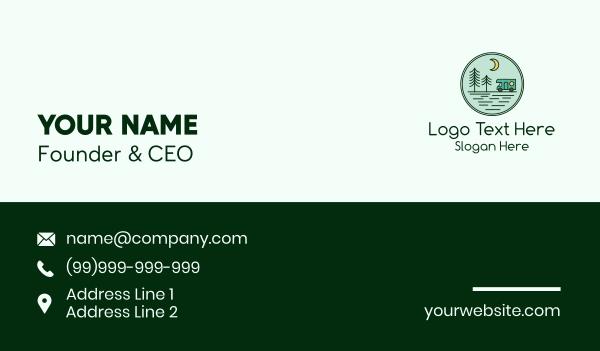 summer camp - Trailer Camping Emblem  Business card horizontal design