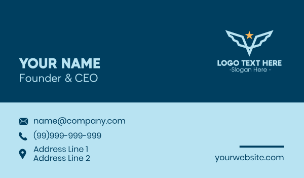 troop - Star Wing Pilot Emblem Business card horizontal design