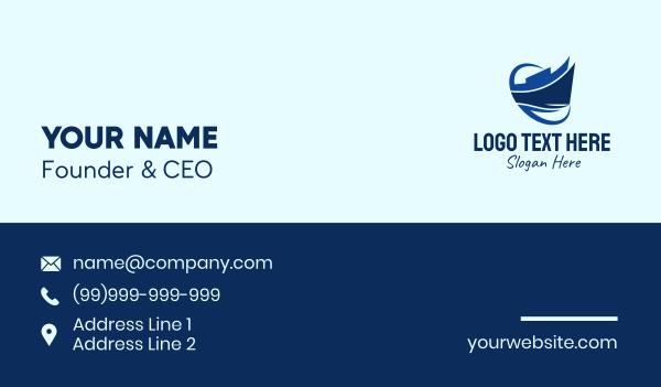 sail boat - Blue Silhouette Ship Business card horizontal design