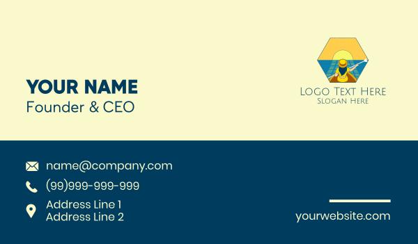 province - Sunset Boat Lady  Business card horizontal design