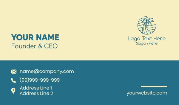 scene - Tropical Palm Tree Monoline Business card horizontal design