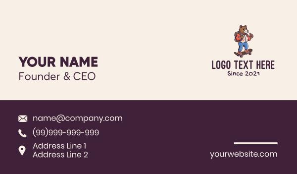 skating - Skater Bear Mascot Business card horizontal design