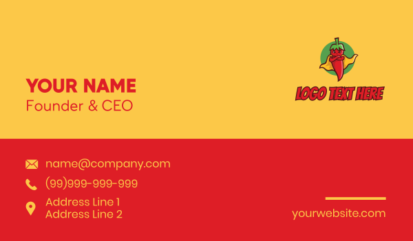 taqueria - Super Spicy Pepper  Business card horizontal design
