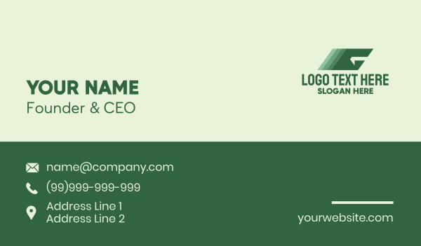 moving - Geometric Moving Letter G  Business card horizontal design