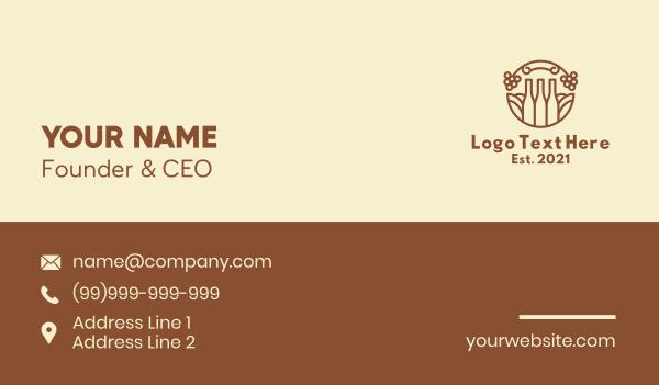 bottle - Line Art Liquor Bottle Business card horizontal design