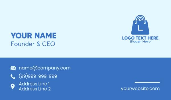 minimart - Blue Internet Shopping Bag Business card horizontal design