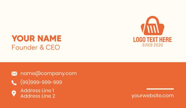 minimart - Orange Shopping Bag Business card horizontal design