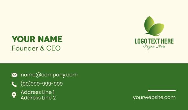 butterfly - Organic Leaf Butterfly Business card horizontal design