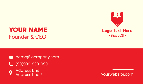passion - Red Heart Keyhole  Business card horizontal design