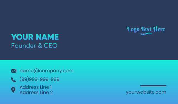 drinking water - Aqua  Gradient Wordmark  Business card horizontal design