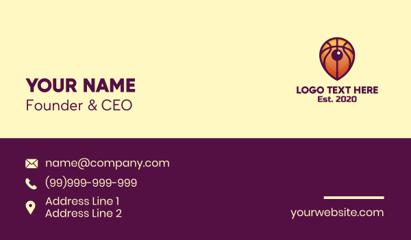 sporting event - Basketball Location Pin Business card horizontal design