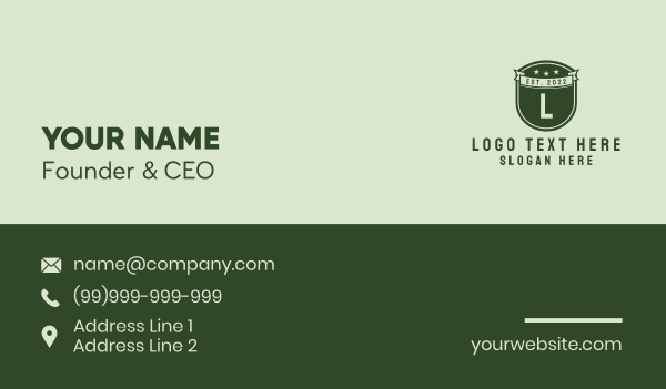 militia - Military Academy Letter Business card horizontal design