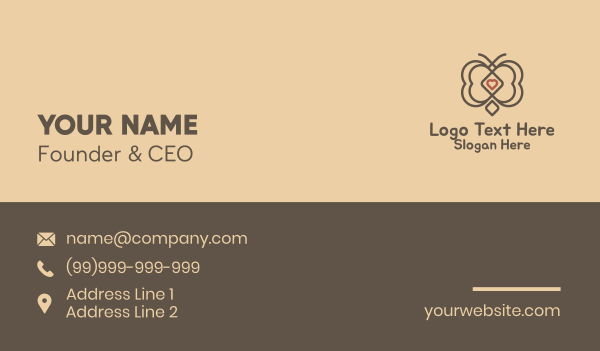matchmaking - Hearts Butterfly Business card horizontal design