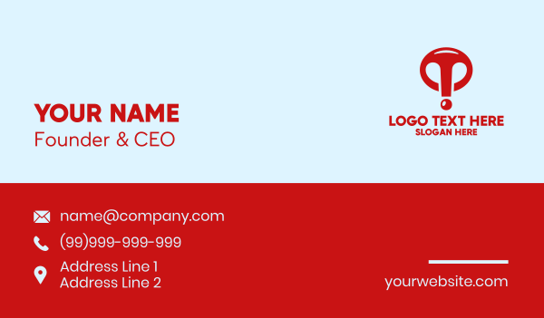 gas mask - Red Exclamation Point  Business card horizontal design