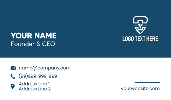 medical service - White Lifeline Shield  Business card horizontal design