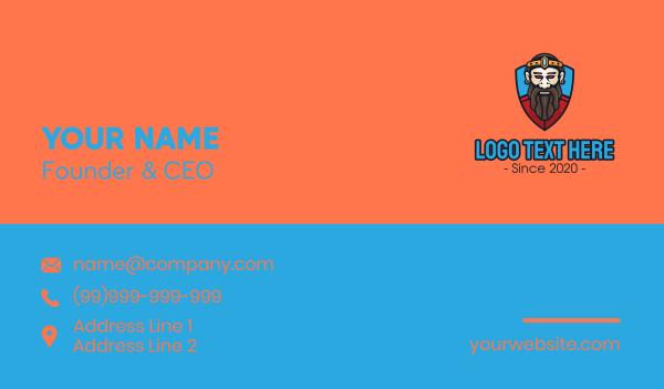 old man - Royal King Shield Mascot Business card horizontal design