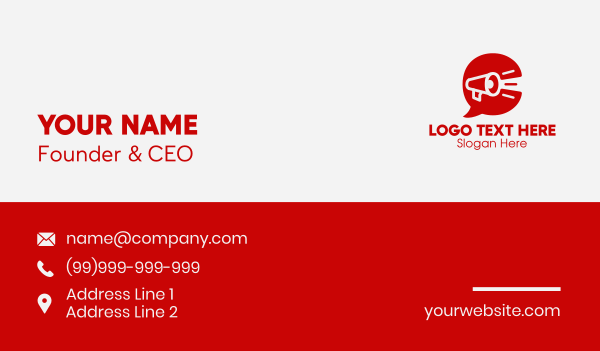 message bubble - Red Megaphone Letter C  Business card horizontal design