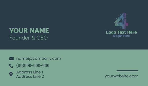 four - Modern Glitch Number 4 Business card horizontal design
